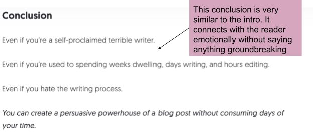 An example from Neil Patel of how to conclude your writing and connect to the reader