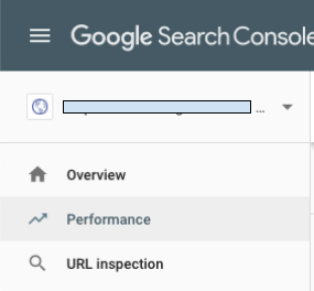 Google Search Console dropdown menu with Performance selected
