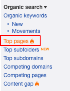 Using the organic search menu in Ahrefs to look up top pages
