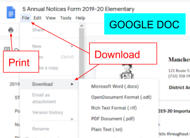 Screenshot of Google Doc