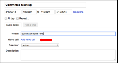 Screenshot showing Committee Meeting and add video call option