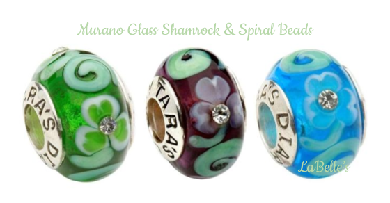 Tara's Diary Shamrock Spiral Charm Beads | Made from Murano Glass | LaBelle's General Store