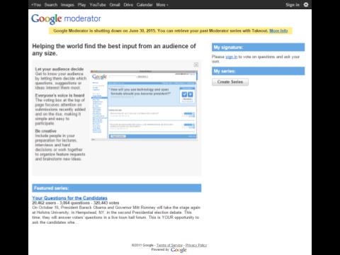 Google Moderator Homepage April 2015