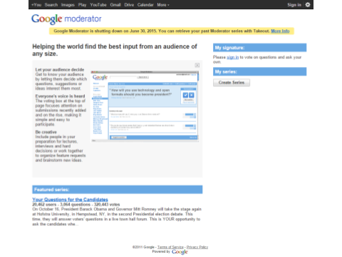 Google Moderator Homepage April 2015