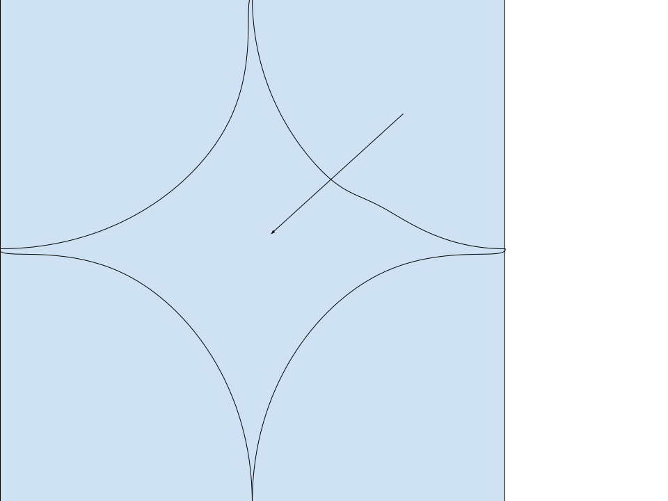 Four quarters of circle inside square
