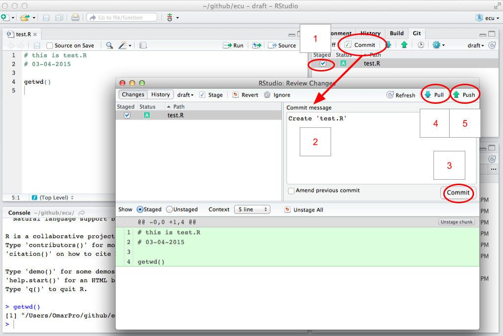 Figure showing RStudio when syncing. After first staging your changes, click the commit button to open a new window where you can enter a commit message and then pull and push new changes.