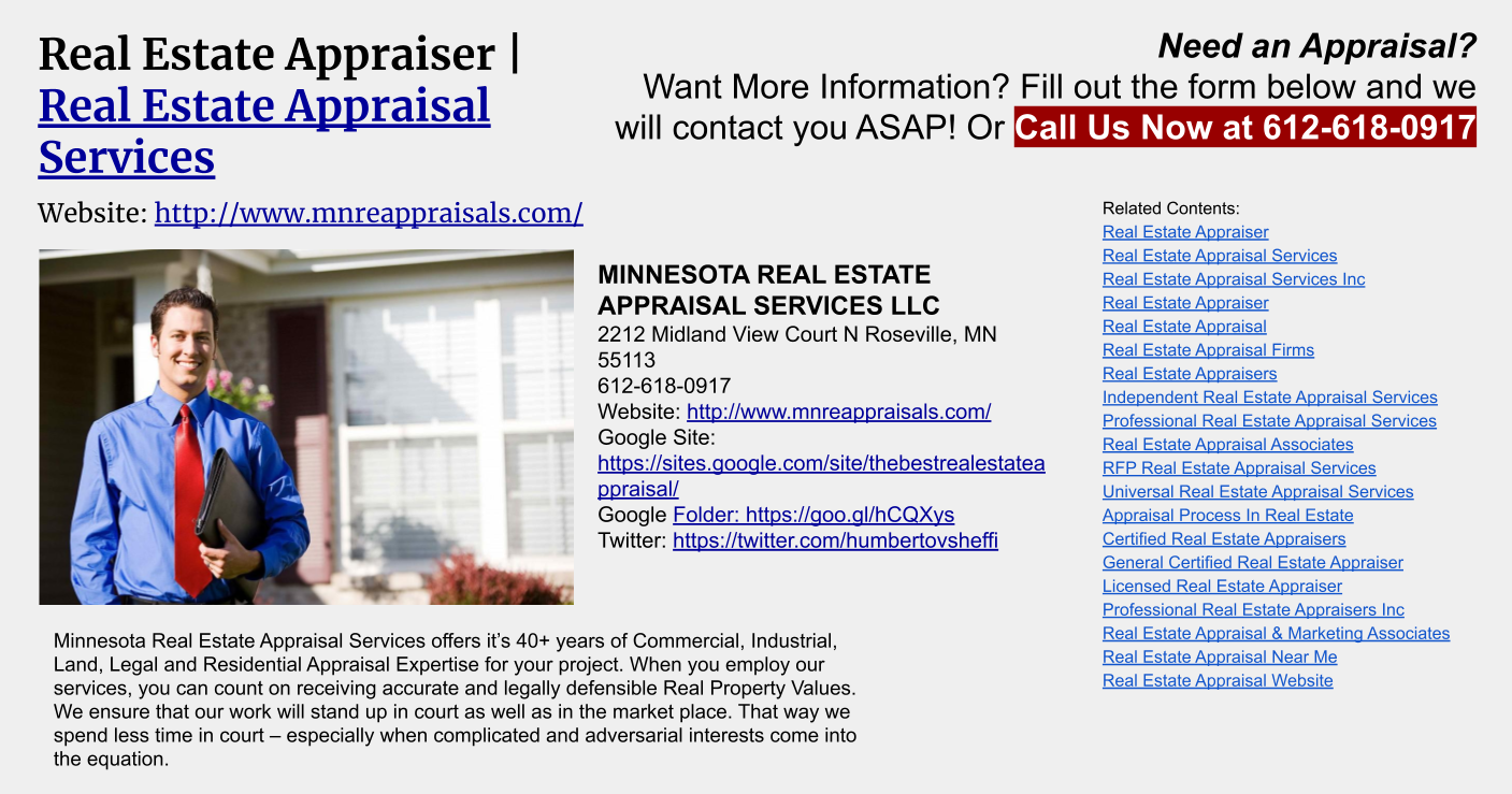 Commercial Property Appraisal : Commercial real estate appraiser minnesota