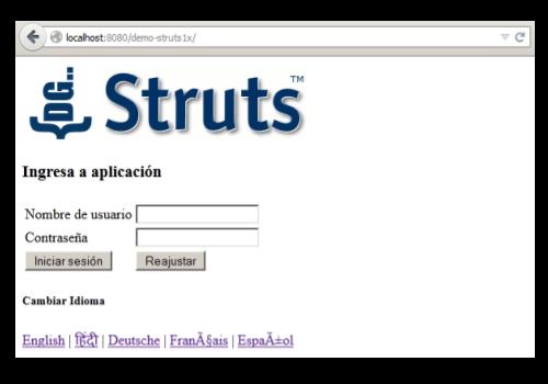 Struts Internationalization Screenshot by DGStack.com