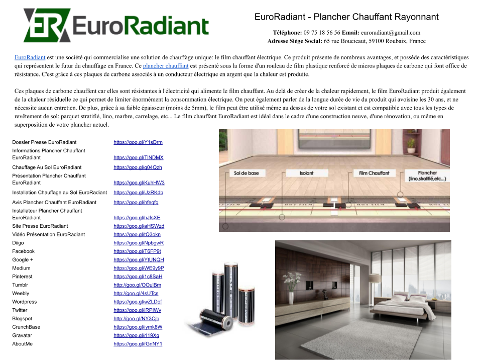 installation chauffage au sol euroradiant euroradiant. Black Bedroom Furniture Sets. Home Design Ideas