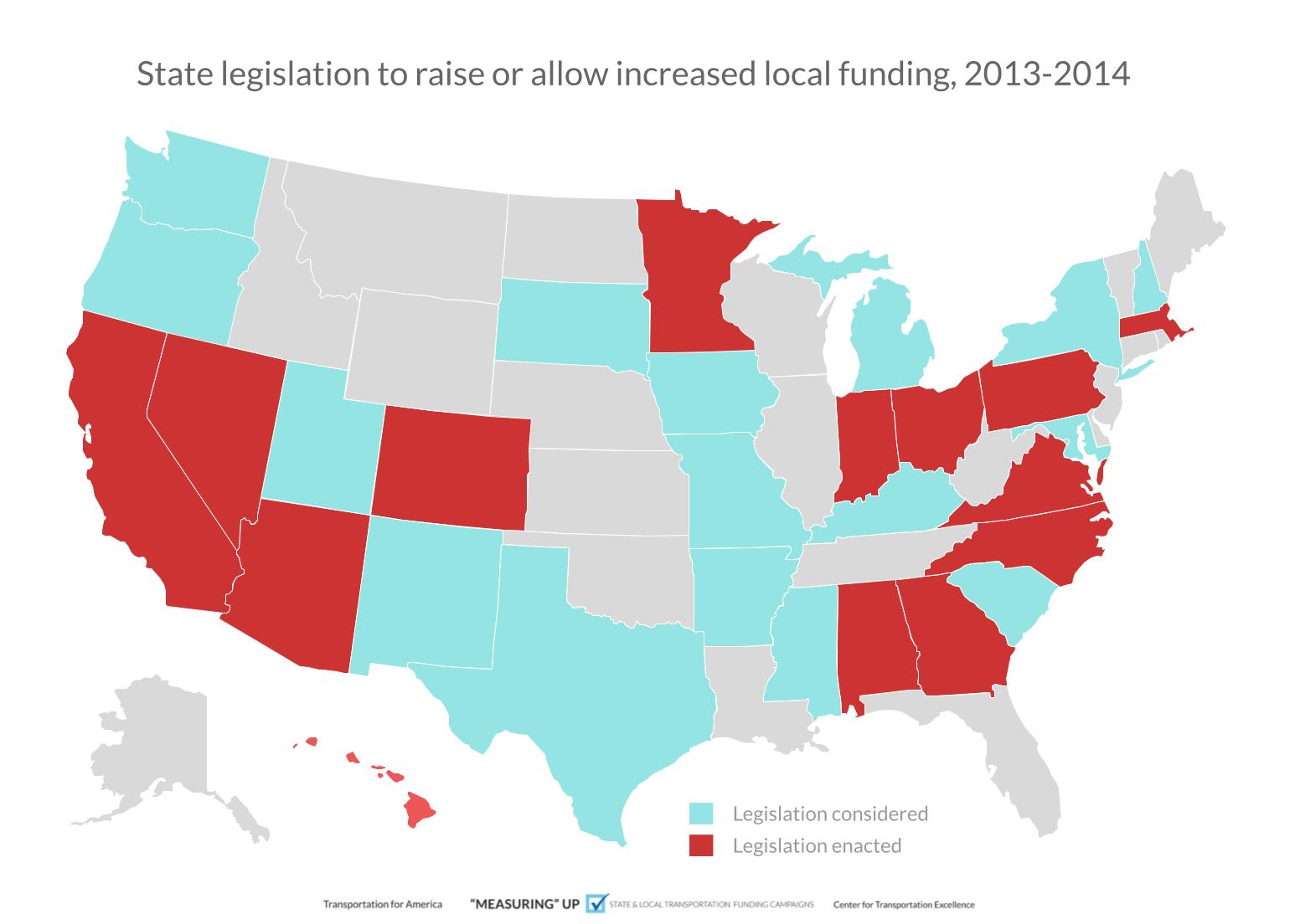 Image: State legislation raising or allowing increased local funding, 2013-2014