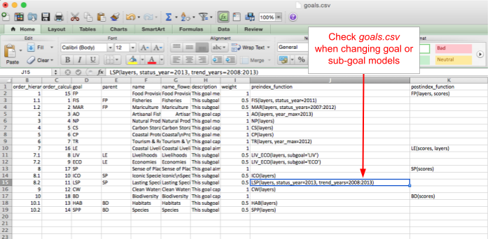 A screenshot of goals.csv, used to modify goal model