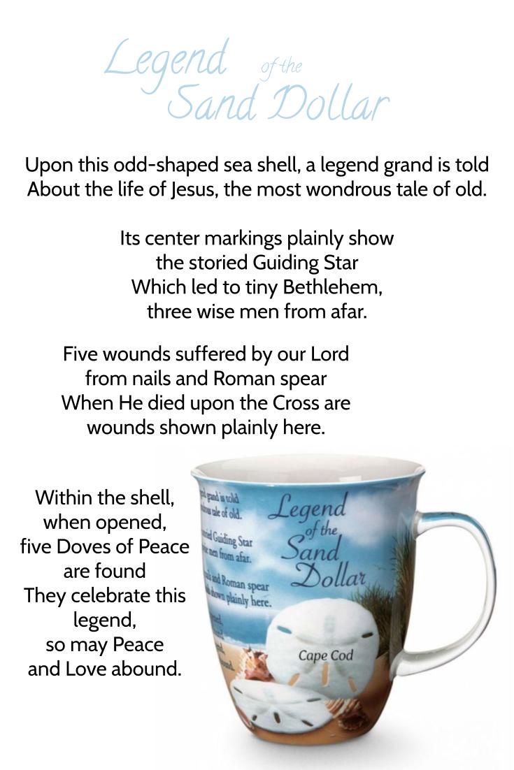 a most wondrous tale | Legend of the Sand Dollar | Cape Cod Latte Mug