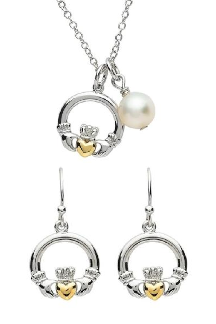 Platinum Claddagh Pendant and Earrings | Love ~ Loyalty ~ Friendship | LaBelle's General Store