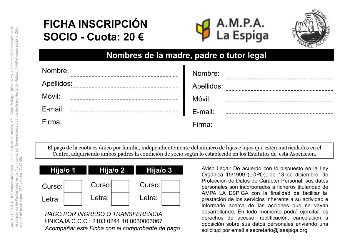 Ficha de Inscripción de Socio AMPA LA ESPIGA