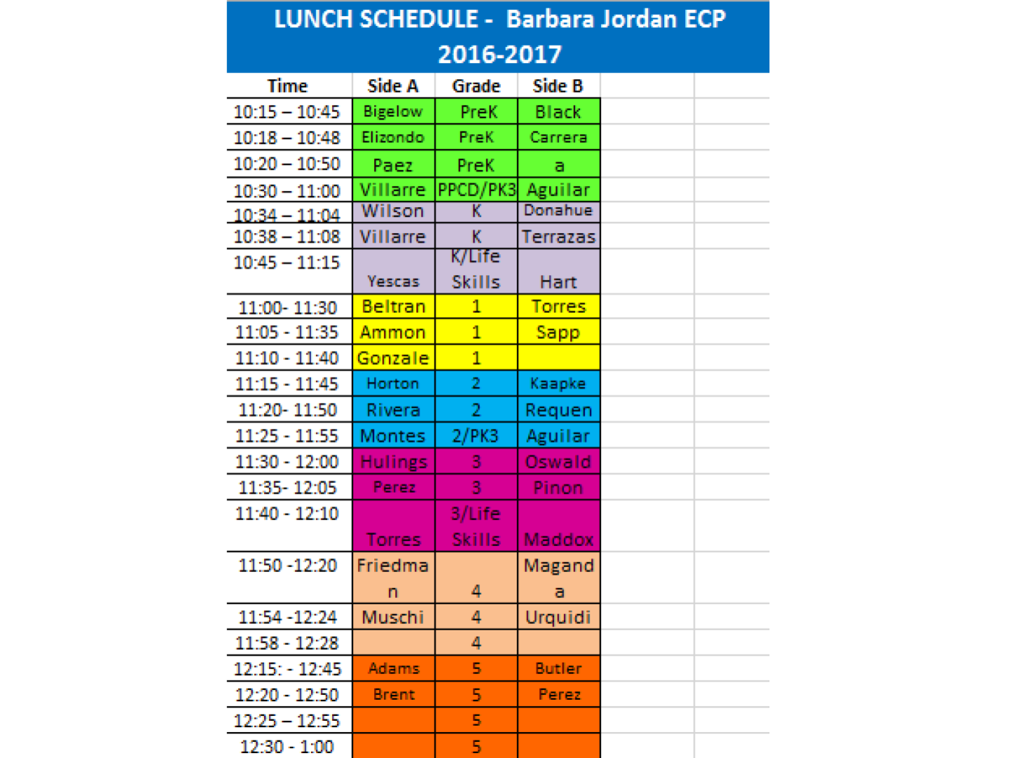 BJECP Lunch Schedule