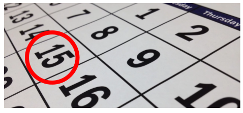Photo of calendar with the date 15 circled in red