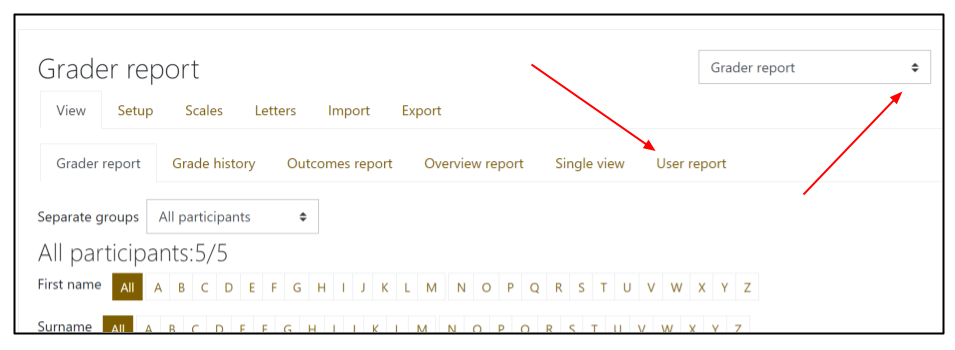 Screen capture of Moodle gradebook with arrows pointing to the User report tab and then drop-down menu on the upper-right.