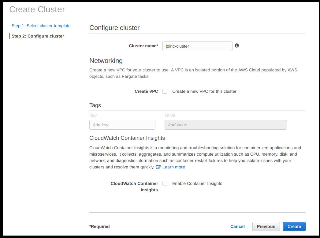 ECS Configure cluster