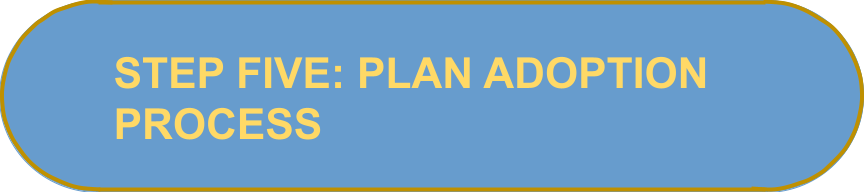 """Oval shape with text that reads """"Step five: Plan adoption process"""""""