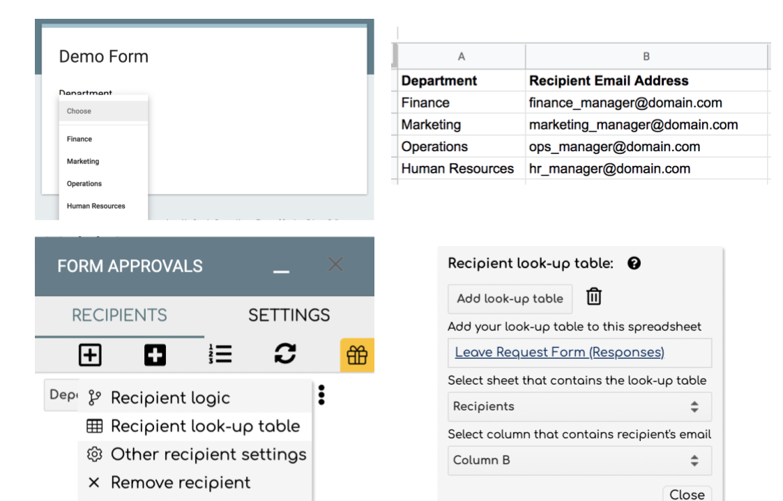 Image showing how to add a dynamic recipient look-up table