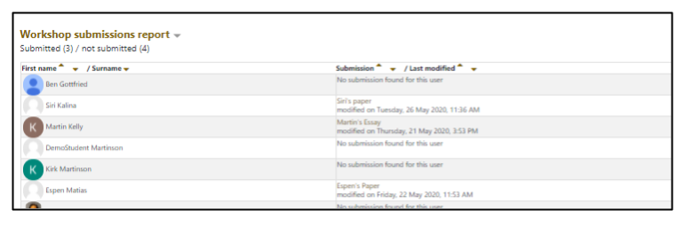 Screen capture of Moodle Workshop Submission overview
