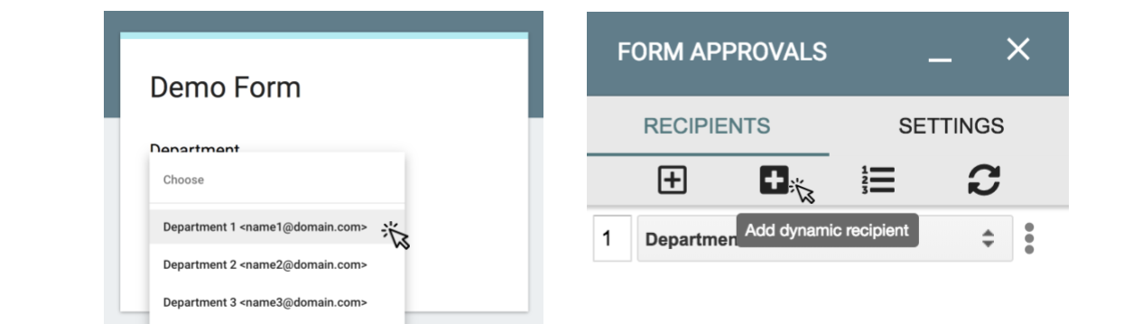 Image showing how to add a dynamic recipient
