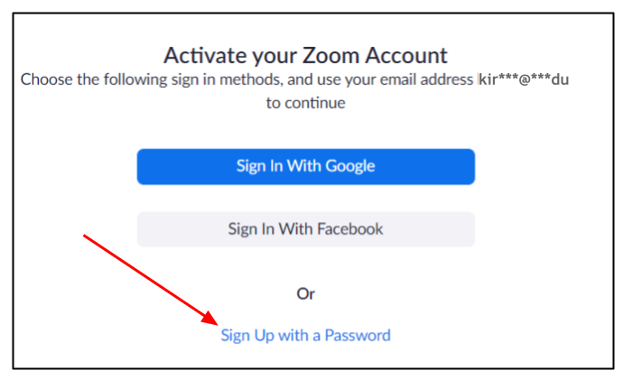 Screen capture of Zoom activation page with arrow pointing to Sign up with a Password link