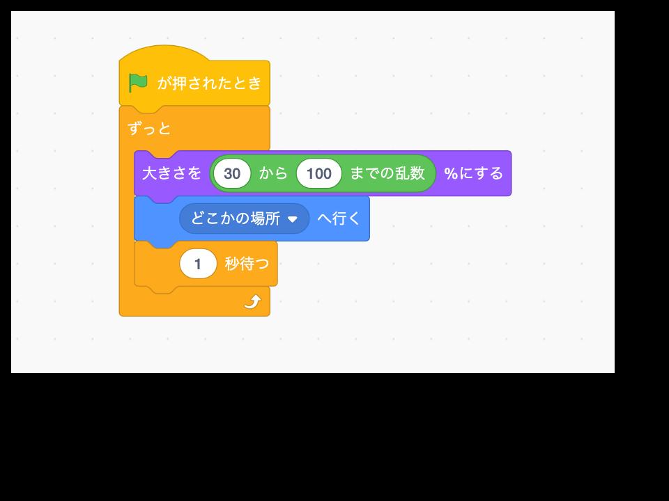 Scratch(スクラッチ)のブロックにずっとの中に1秒待つをブロックを入れる