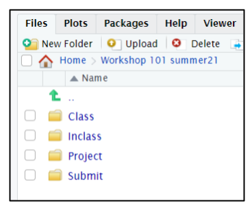 Screen capture of R folder browser listing the typical course subfolders