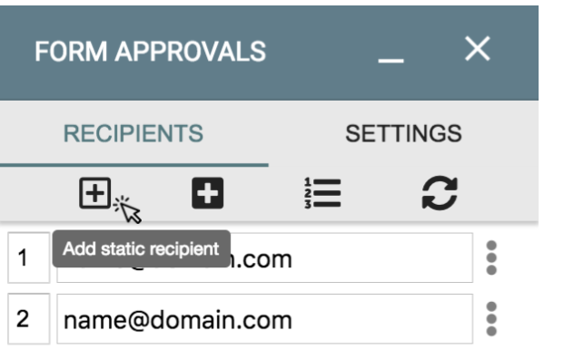 Image showing how to add a static recipient