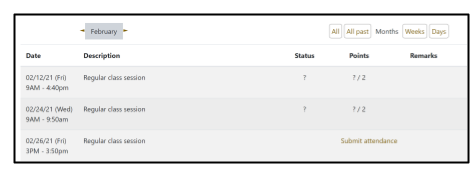 Screen capture of Moodle Attendance activity Student marking page