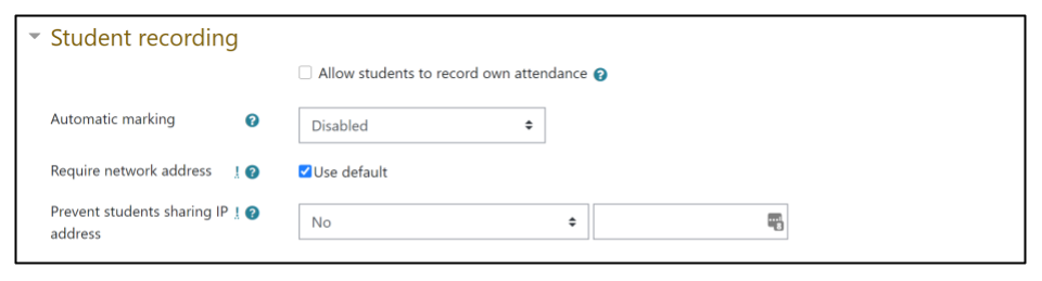 Screen capture of Moodle Attendance activity Add session tab, Student recording section