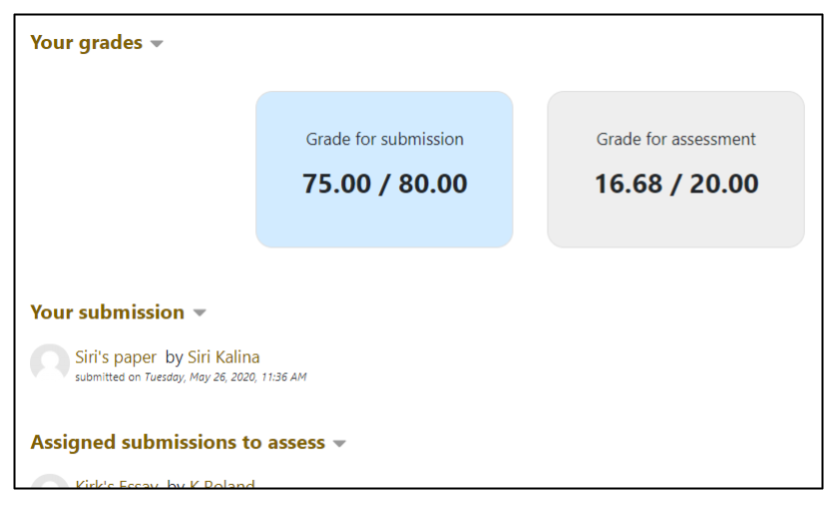 Screen capture of Moodle Workshop closed phase student view of grades