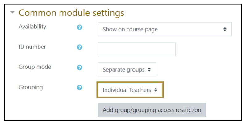 Screen capture of Moodle Forum settings page showing Common module settings with Group mode set to Separate groups and Grouping set to Individual Teachers grouping