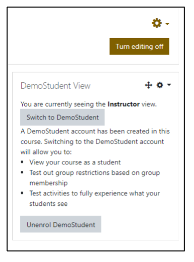 Screen capture of Moodle DemoStudent View block showing Switch to DemoStudent and Unenrol DemoStudent buttons.