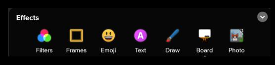 Screen capture of Flipgrid Effects menu