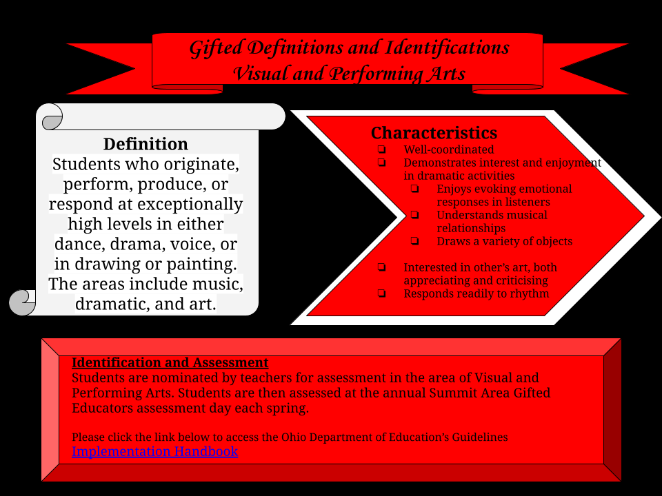 Gifted and Talented Visual and Performing Arts, definition, characteristics and assessment