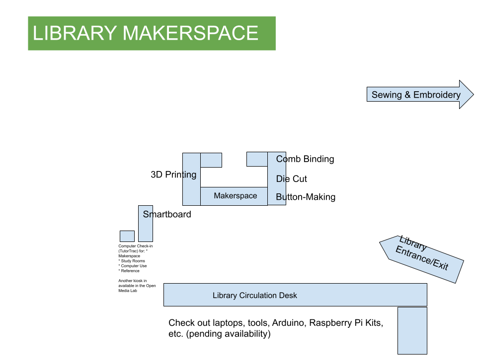 Map of Makerspace equipment in the Library.