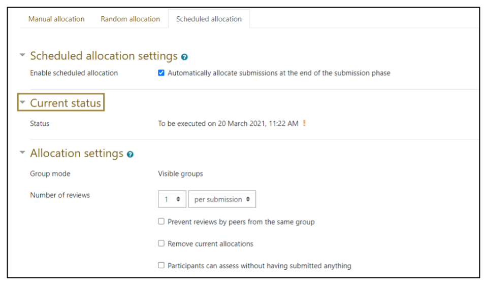 Screen capture of Moodle Workshop Scheduled allocation settings