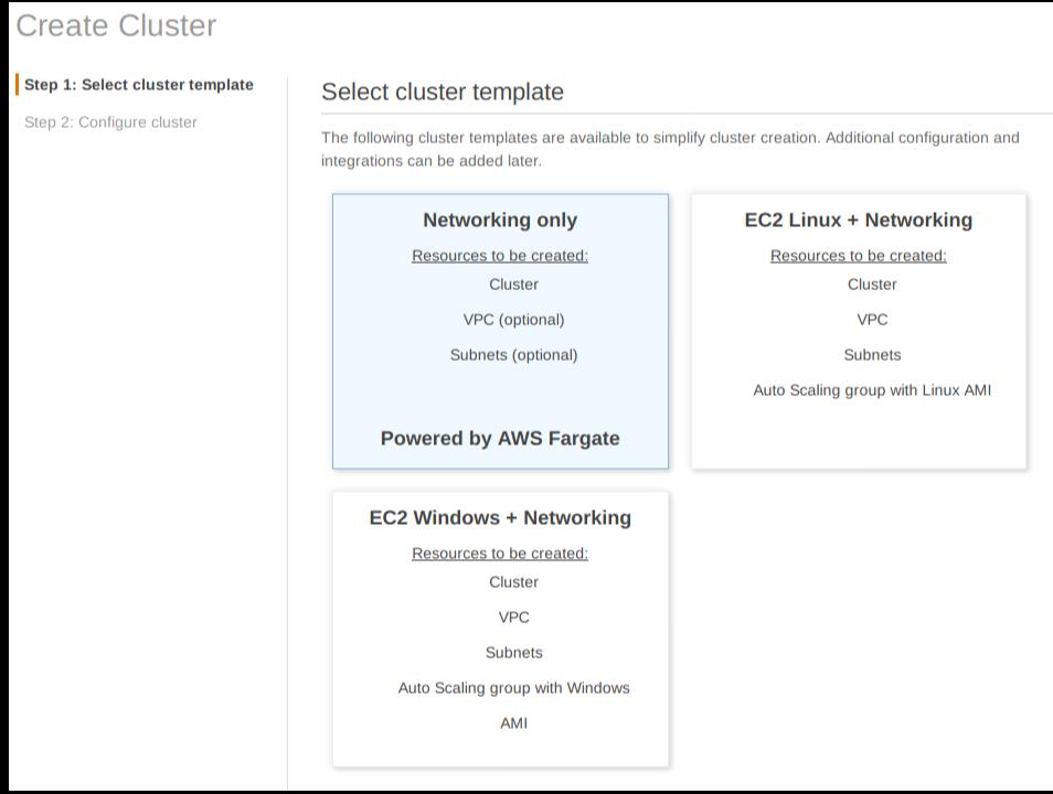 ECS Cluster Template 선택화면