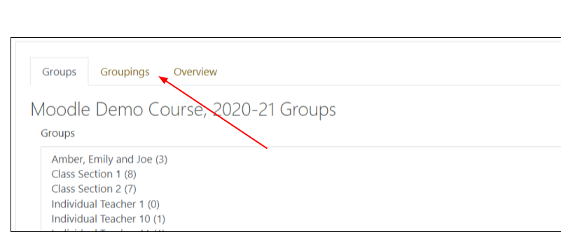 Screen image of Groups page in Moodle with arrow pointing to tab with the name Groupings