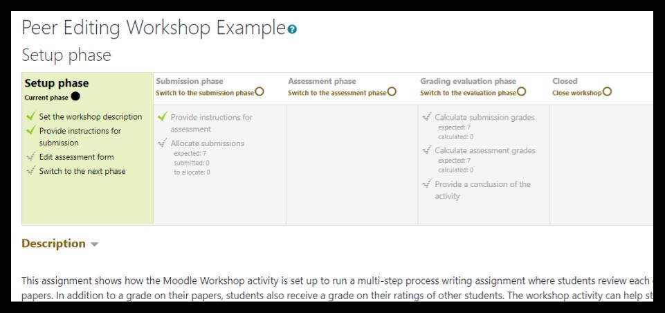 Screen capture of Moodle Workshop setup phase