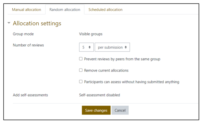 Screen capture of Moodle Workshop Random allocation setup
