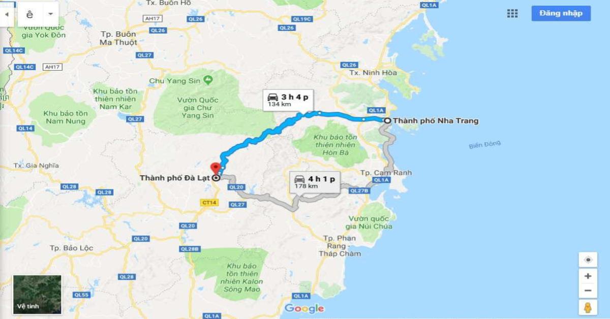 Bản đồ từ TP.Đà Lạt, Lâm Đồng đến TP. Nha Trang, Khánh Hòa