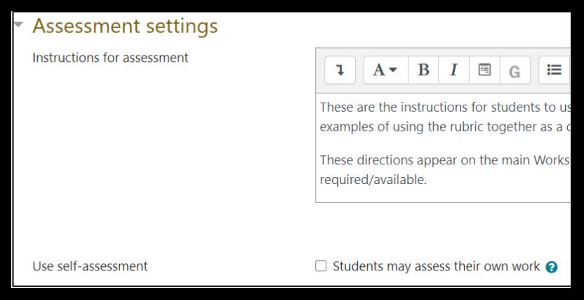 Screen capture of Moodle Workshop Assessment settings