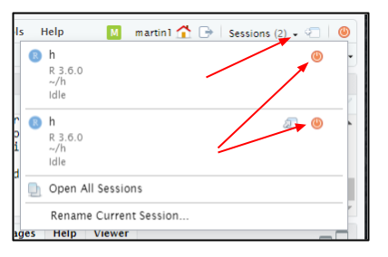 Screen capture of R server window with arrow pointing to the drop-down menu next to the word Sessions and arrows pointing at power button icons to close individual sessions