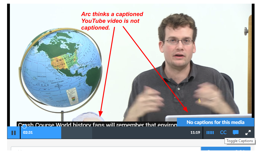 Arc fails to recognize that a YouTube video has been captioned.