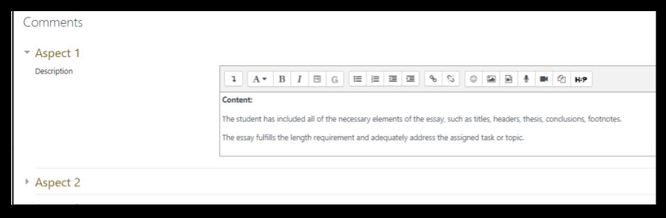 Screen capture of Moodle orkshop comments form setup