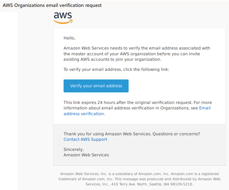 AWS Organization email verificaton request