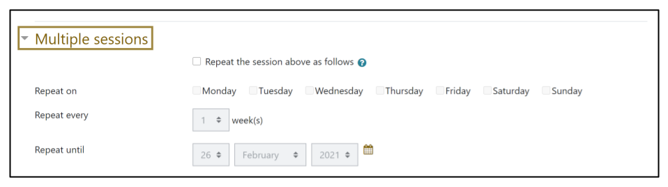 Screen capture of Moodle Attendance activity Add session tab - Multiple sessions section